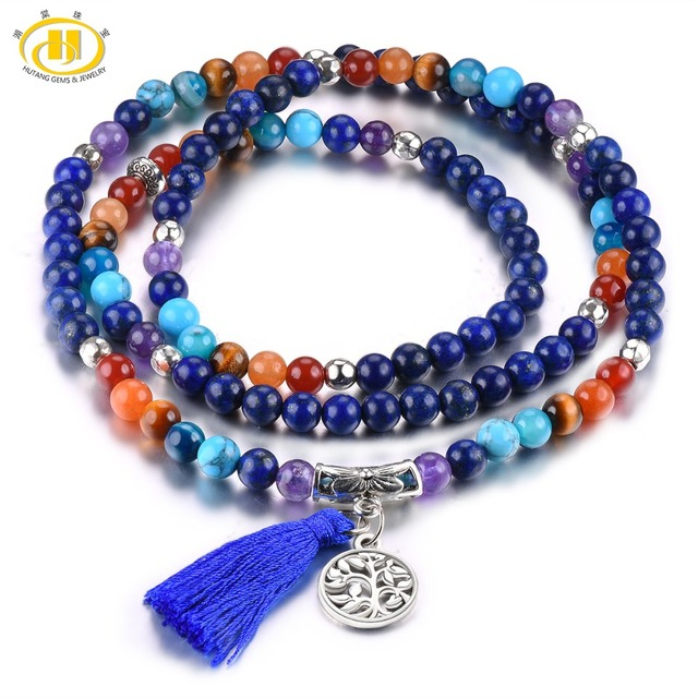 Hutang 6mm Bead Stretch Bracelet Gemstone Lapis Agate Amethyst Tiger Eye 27 Inches Stone Jewelry for Women Girls Best Gift New