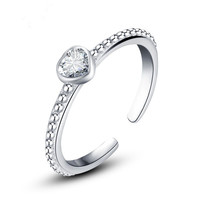 VOJEFEN 925 Sterling Silver Zirconia Solitaire Promise Ring Silver Diamond Bridal Rings for Wedding Adjustable Heart Ring
