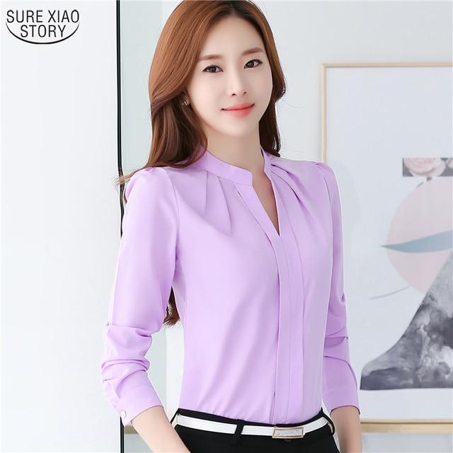 8c009340824 2019 New Arrival Summer Autumn Plus Size Blusas Women Chiffon Shirt Elegant Solid  V-neck