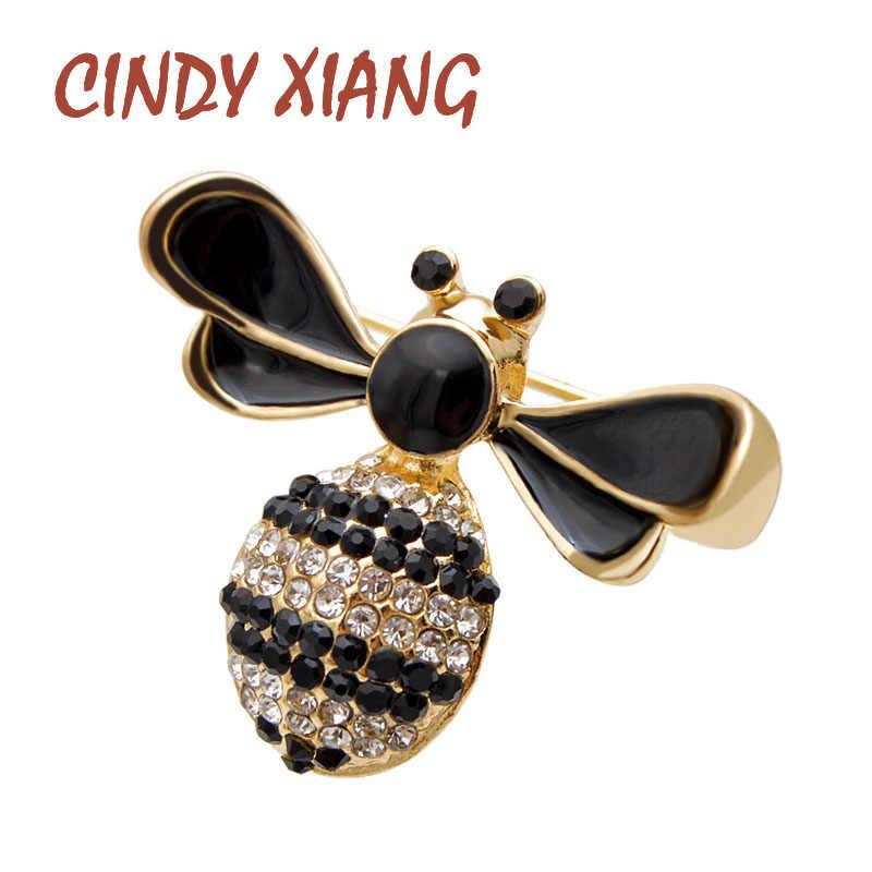 Cindy Xiang Baru Berlian Imitasi Lebah Bros untuk Wanita Kecil Lucu Serangga Bros Gaya Musim Panas Aksesoris Topi Perhiasan Hadiah
