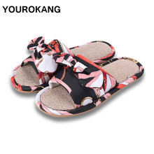 Summer Autumn Women Home Slippers Slides Fashion Indoor Unisex Couple Linen Slippers Butterfly-knot Floor Ladies Household Shoes summer slippers han edition in female household linen floor indoor slippers antiskid couples lovely cool men s slippers home