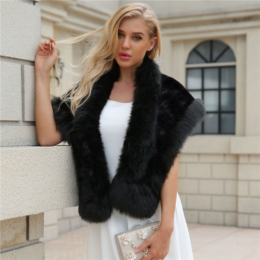 2018 LANSHIFEI Luxurious Faux Fox Fur Scarves Elegant Ladies Faux Fur Collar Fluffy Soft Cape Wedding Shawl Party Scarf Women