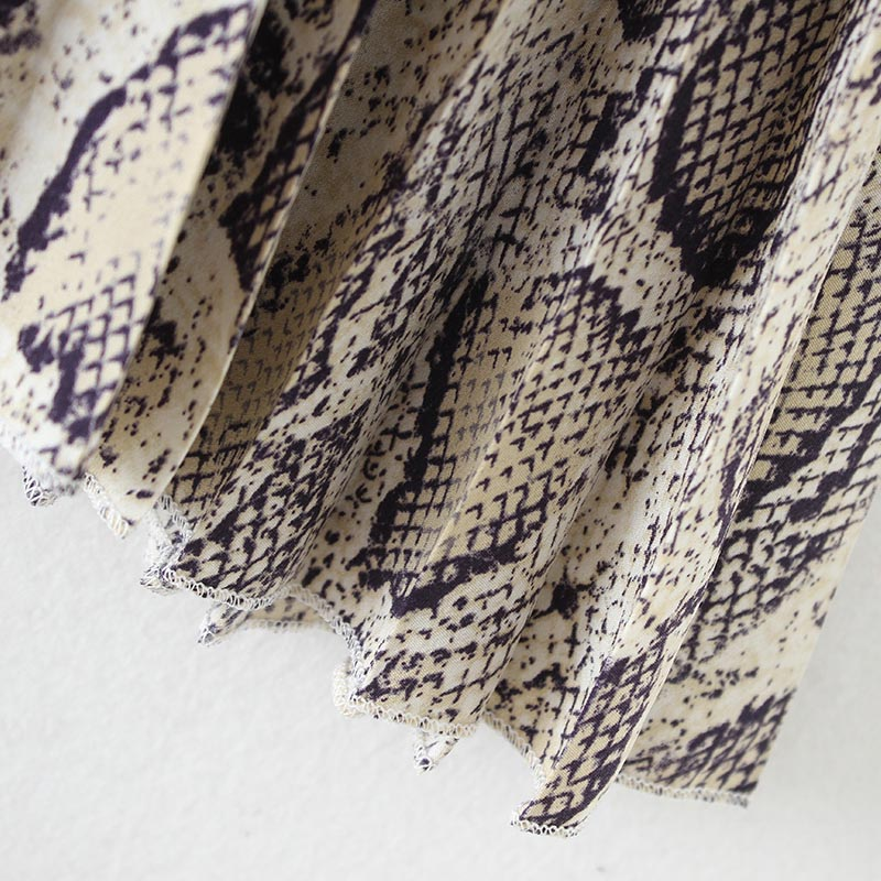 Vadim Women Stylish Snake Print Pleated Skirt Faldas Mujer Drawstring Tie Elastic Waist Ladies Casual Mid Calf Skirts Ba108 #5
