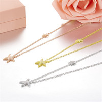 Simple Design mini cute starfish pendant necklace 2018 new silver 925 jewelry sterling silver crystal star choker necklace