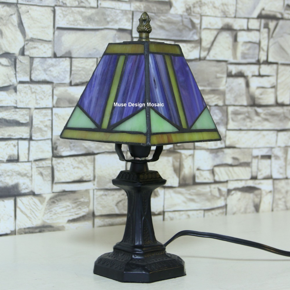 Shipping Free Purple Art Deco Stained Glass Tiffany Lamps Small