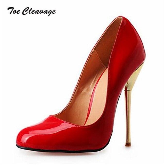 76cb71e706 Toe Cleavage stilettos Shallow shoes woman sexy 14cm Metal Thin Heels  Crossdresser Wedding Round Toe Pumps Plus:46 47 48 49 50