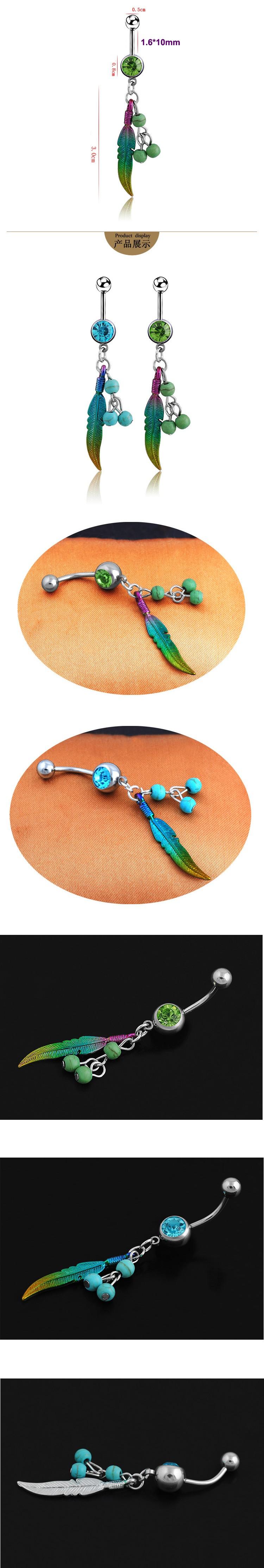 HTB1GttANpXXXXbjXFXXq6xXFXXX3 Trendy Leaf And Berries Navel Piercing Dangle Ring - 2 Colors