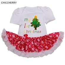 Arbre et Neige Mon Premier Noël Costumes pour Enfants Vêtements Bébé Fille Robe Enfant En Bas Âge Dentelle Barboteuse Robe Infantile De Noël Robes