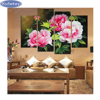Triptych Diy Diamond Painting Peony Flowers 3d Diamond Embroidery Landscape Diamond Mosaic Crystal Cross Stitch Kits