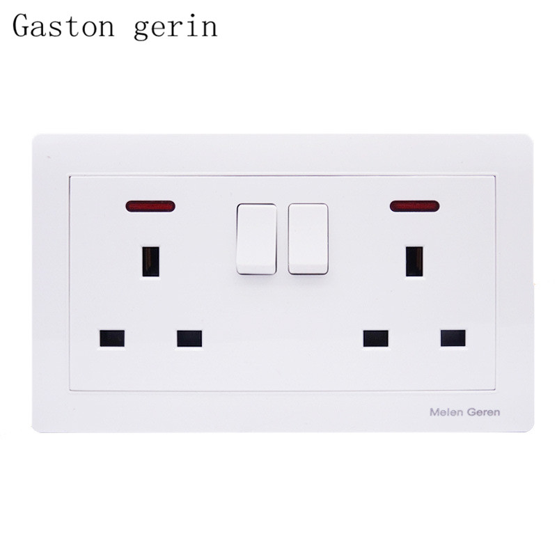 146 Double 3 Hole 13A UK Switched Socket Panel with Led Indicator 110V-250V 146*86mm Standard Wall Plug Power Outlet