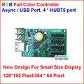 Async usb controlador full color, 192*128, 384*64 área de controle, 4 hub75 display projeto para o tamanho pequeno, rgb controlador de pequeno porte