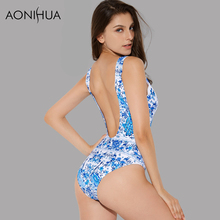 AONIHUA 2018 Open back Retro One Piece Swimsuit for Women Vintage Print Blakless Swimwear blue Push up swimming Suits 2050
