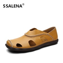 Summer Closed Toe Sandals Men Genuine Leather Hollow Out Soft Footwear Man Slip On Loafers Casual Driving Shoes A863