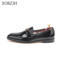XOBZJH 2019 Summer New Men Shoes Handmade Leisure Style Man Wedding Party Shoes Men Black Flats Leather Work Shoes Big Size