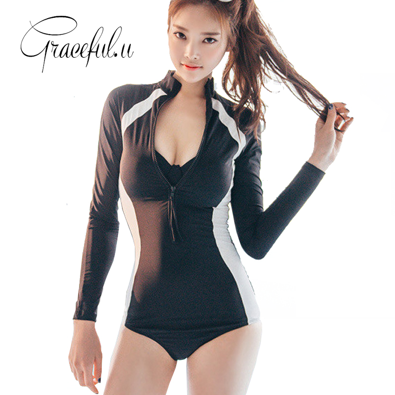 Black One Piece Swimsuit Long Sleeve Swimwear Women 2017 High Neck Bikini Zipper Bathing ...