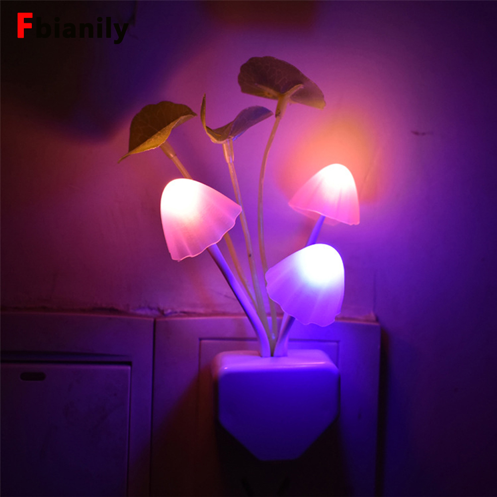 Novelty Mushroom Fungus Night Light EU & US Plug Light Sensor 220V 3 LED Colorful Mushroom Lamp Led Night Lights