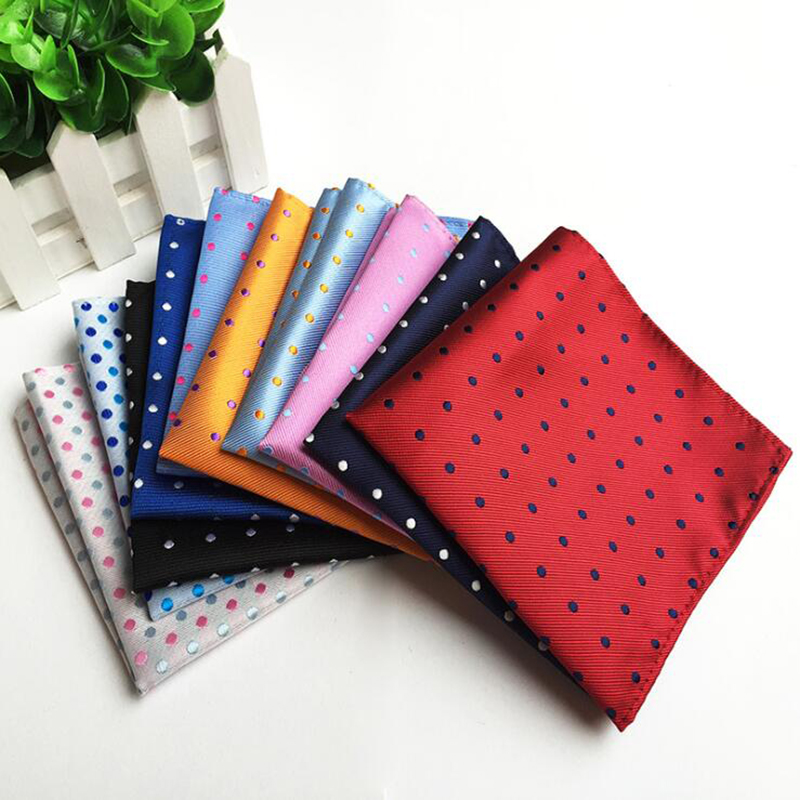 Luxury Fashion Pocket Square Red Gray Silvery Solid Polka Dot Hanky For Men Business Wedding 25*25cm Silk Handkerchief Costume