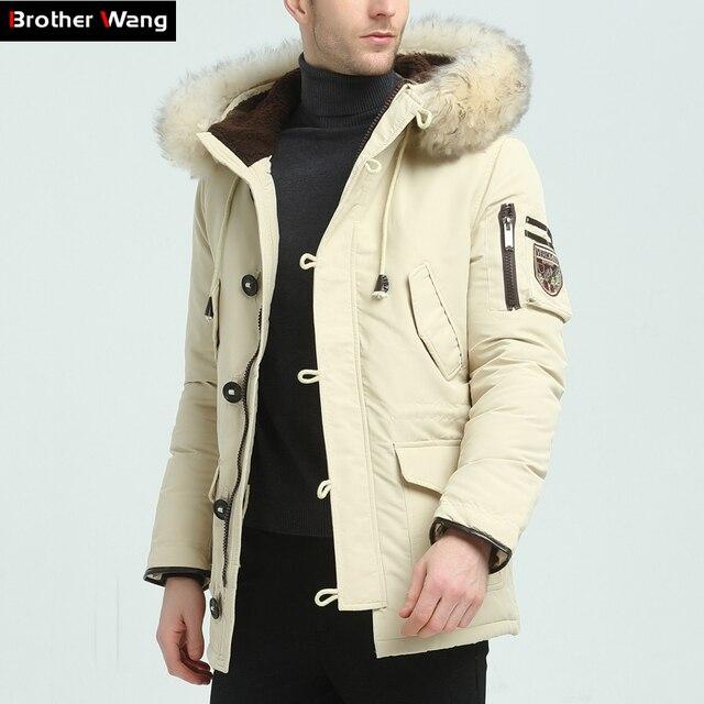 Брат Ван бренд 2018 Новинка зимы Для мужчин пуховик Мода Повседневное с капюшоном толстый теплый длинное пальто меховой Куртка с воротником