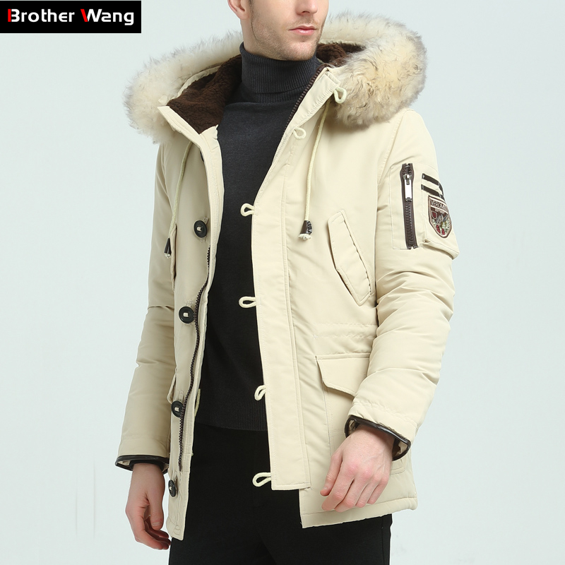 Brother Wang Brand 2019 Winter New Men's   Down   Jacket Fashion Casual Hooded Thick Warm Long   Coat   Fur Collar Jacket