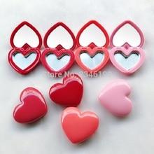 40 шт./партия, красная помада в форме сердца, коробка, емкость для теней для век, алюминиевый поддон, пустая пластина, маленький косметический компактный с зеркалом