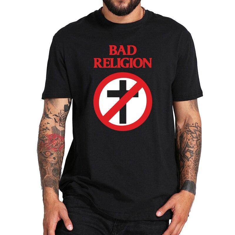 EU Size 100% Cotton   T     Shirt   Bad Religion Crossbuster Punk Rock   T  -  shirts   Comfortable Round Neck Tops