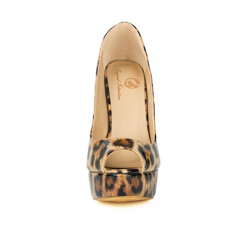 La De Zapatos Sexy Bombas Tacón Mujeres Intención Alto Calidad Mujer 4 Plus Original Leopardo Delgados 15 Toe Alta Tamaño Ef0014 Peep Elegante EqwExvrA