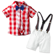 2 3 4 5 6 7 Years Boys Suit Children Clothing Set Pink and White Plaid Shirt White Shorts with Belt 2 Pieces/Set Baby Clothing