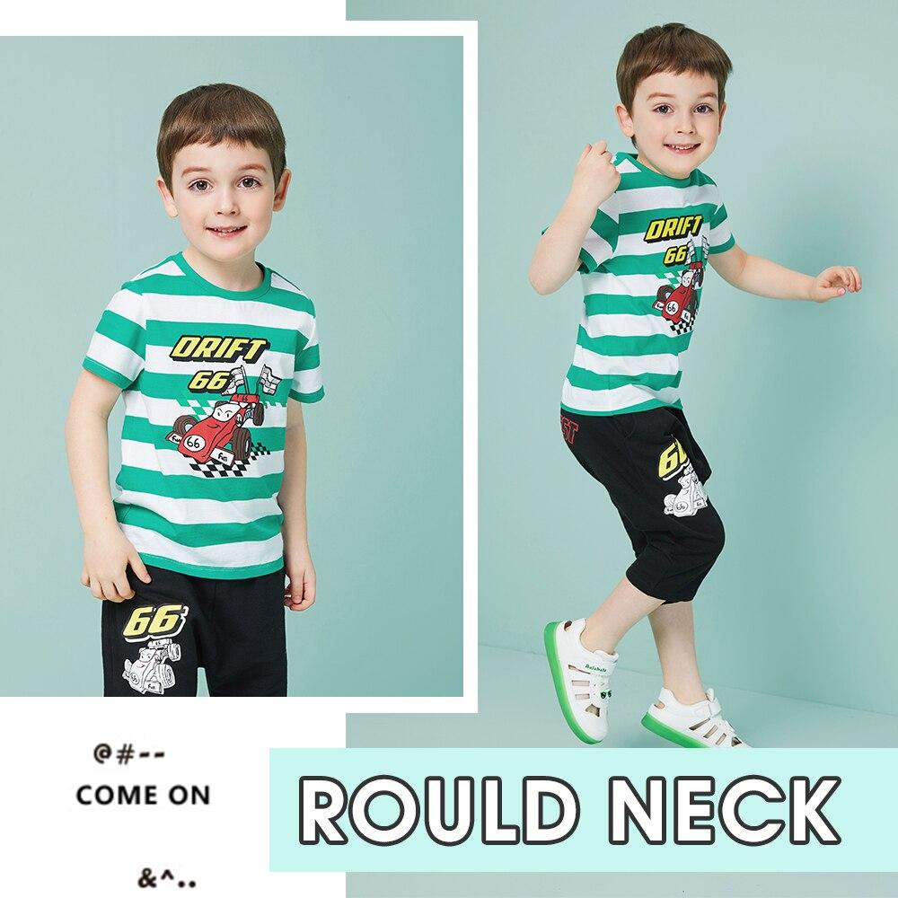 Balabala Boys Children t-Shirts Racing-Print Clothing Toddler Kids Summer 100%Cotton