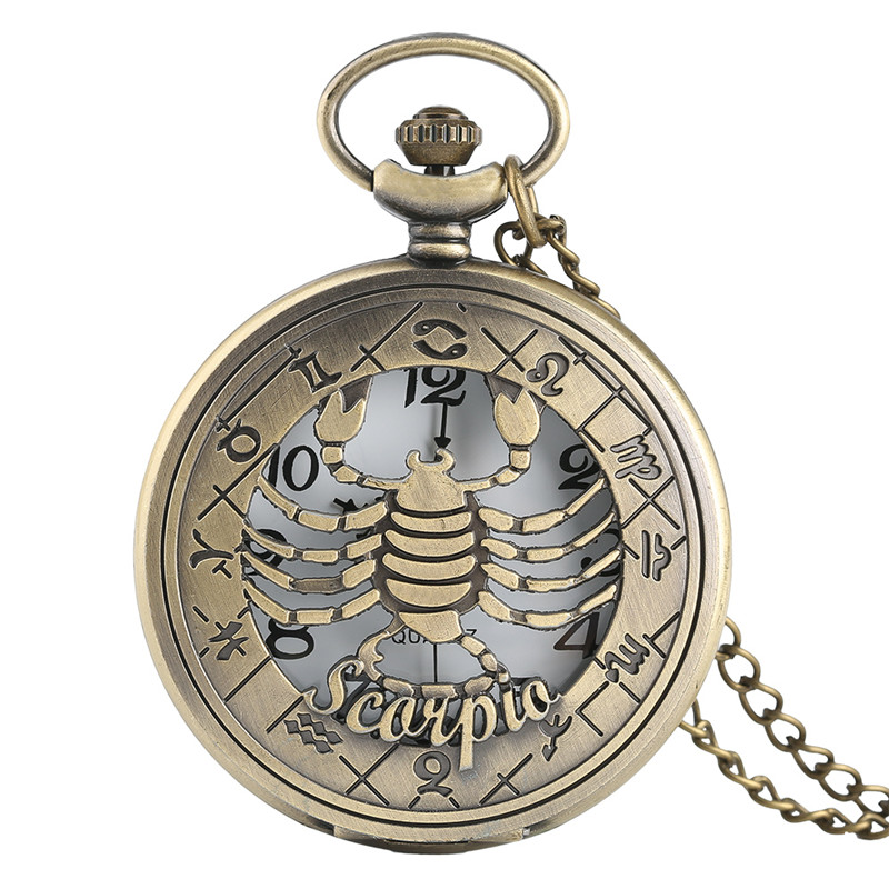 Vintage Quartz Pocket Watch Twelve Constellations Series Scorpio For October November Men Woman Sincere Gift + Necklace Chain