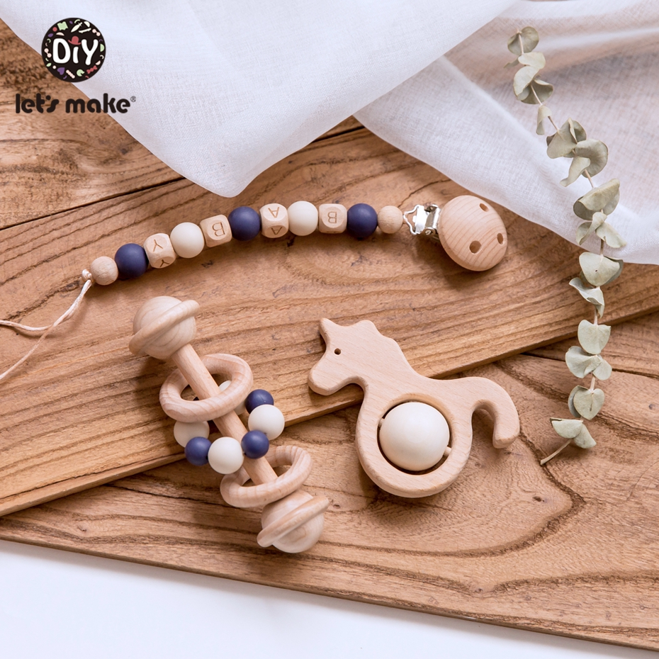 Let'S Make 3Pc/Set Wooden Teether Balls Personalize Infants Pacifier Chain Holder Wood Baby Teether Baby Rattle Crib Mobile