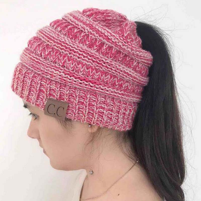 XEONGKVI Europe America Sign Knitted Caps Autumn Winter Warm Brand Stripe Horsetail Hats For Women Skullies Beanies 50-60cm