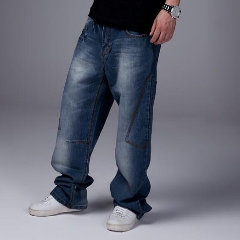 New Fashion Mens Boys Hip Hop Washed Loose Casual Jeans Pants Denim Baggy Trousers Size 30-46 Free Shipping Blue