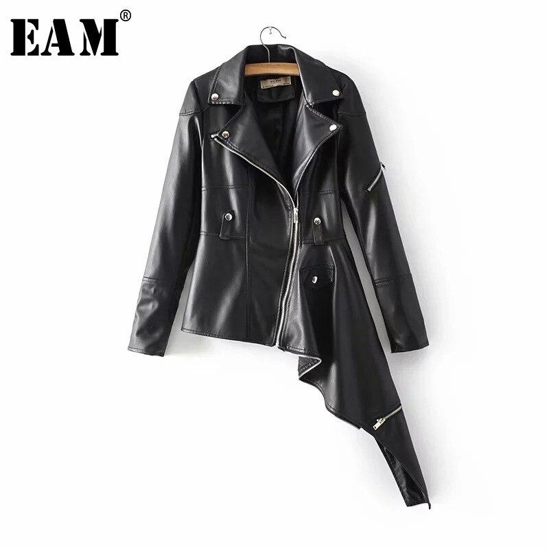 [EAM] Новинка 2018 года осень зима длинный рукав отложной воротник Асимметричный молния бисер PU куртка женская мода прилив OB152