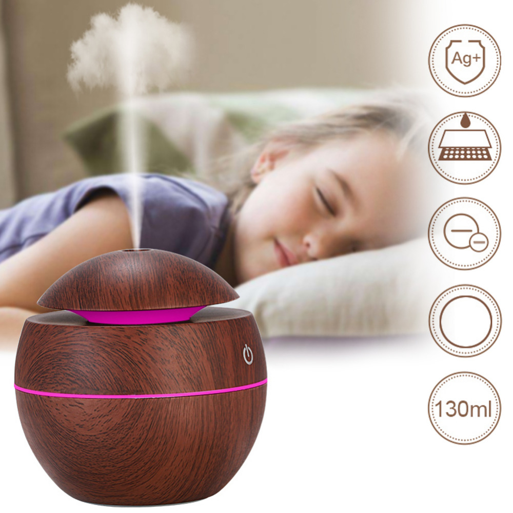 130ml Oil Diffuser Ultrasonic Air Humidifier with USB Wood Grain 7 Color Changing LED Lights for Office Home Car130ml Oil Diffuser Ultrasonic Air Humidifier with USB Wood Grain 7 Color Changing LED Lights for Office Home Car