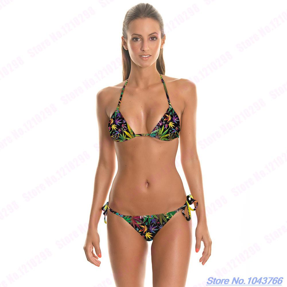 1c5f2bdf859a6 Sexy Leaf Swimwear Top Side Tie Swimwear Backless Triangle Beachwear Green  Leaves Bikinis Set Womens Sexy Strappy Bandage-in Bikinis Set from Sports  ...