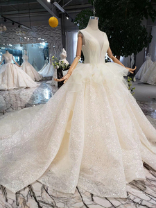 Image 5 - HTL293 Open back sleeveless Wedding Dress with wedding veil tassel backless  v neck shiny bridal dress элегантное платье