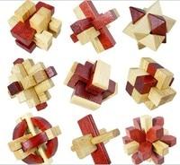 9PCS LOT Oak Wood Puzzle Toys Classic IQ 3D Wooden Interlocking Burr Puzzles Mind Brain Teaser