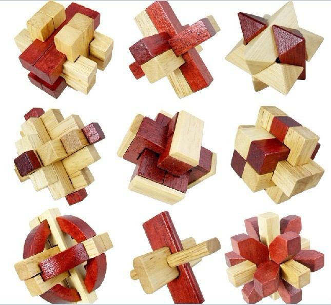 9PCS/LOT Oak Wood Puzzle Toys Classic IQ 3D Wooden Interlocking Burr Puzzles Mind Brain Teaser Game Toy for Adults Children metal puzzle iq mind brain game teaser square educational toy gift for children adult kid game toy