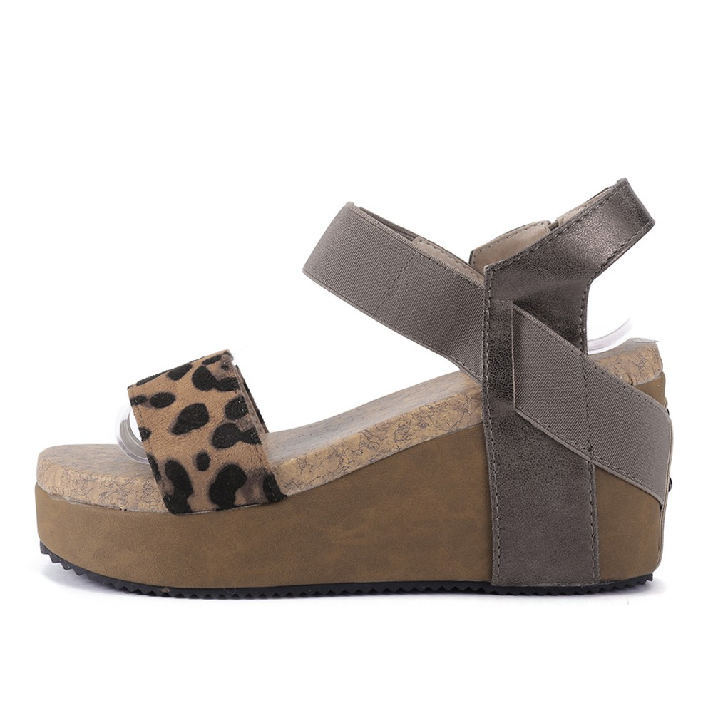 bf79708e4a Summer Sandals Women High Heels Wedge Platform Sandals Wedges Leopard  Elastic Band Shoes for Women