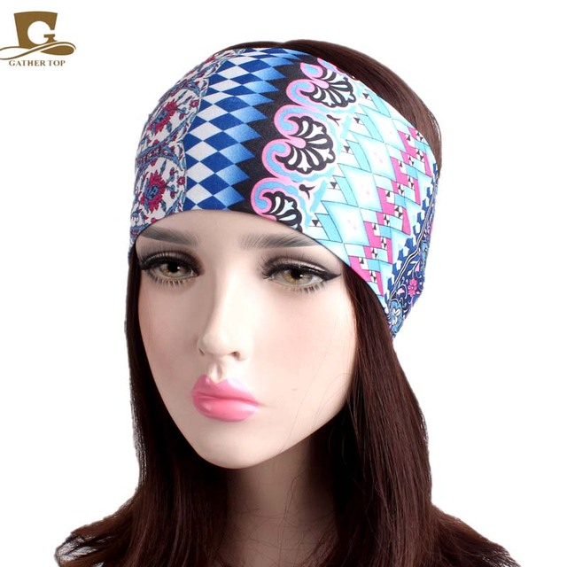 NEW Women Elastic Turban Headband Sport yoga Headbands Ethnic Wide Stretch  hair band headwrap 107a2907c08