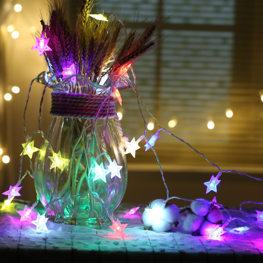 CHASANWAN 3 M 20 Lamp LED Star Battery Box Light String New Year New Year's Ornaments Christmas Decorations for Home Navidad.q 16