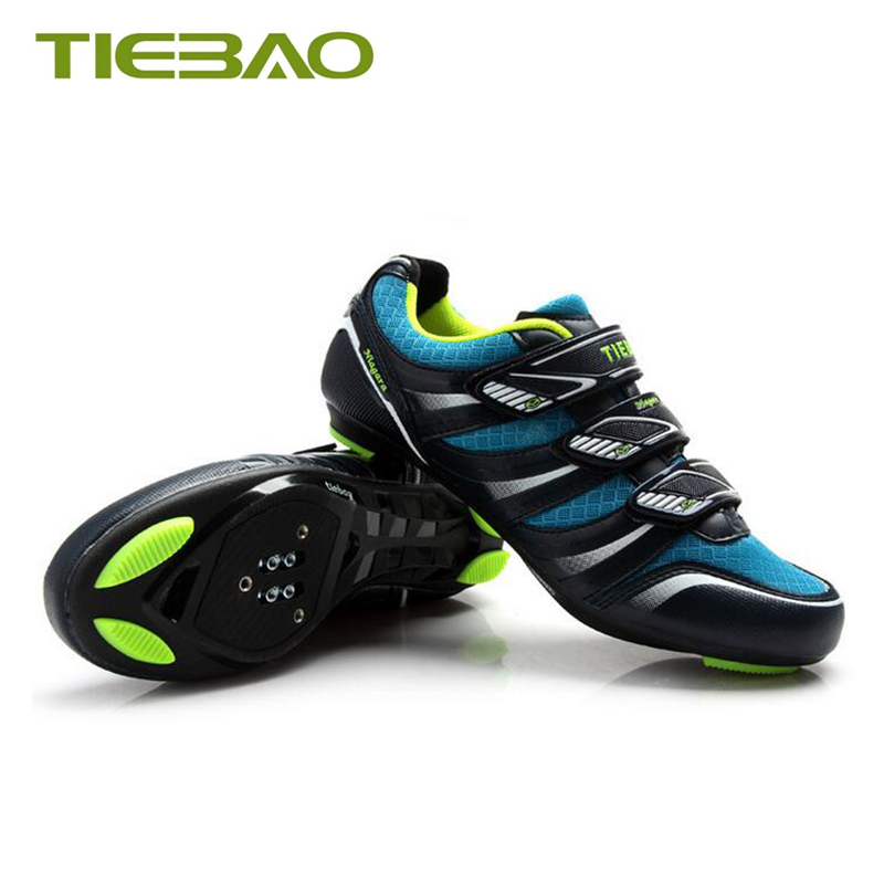 Купить с кэшбэком Tiebao cycling shoes road sapatilha ciclismo self-locking brearhable nylon sole bicycle riding shoes outdoor high-way superstar