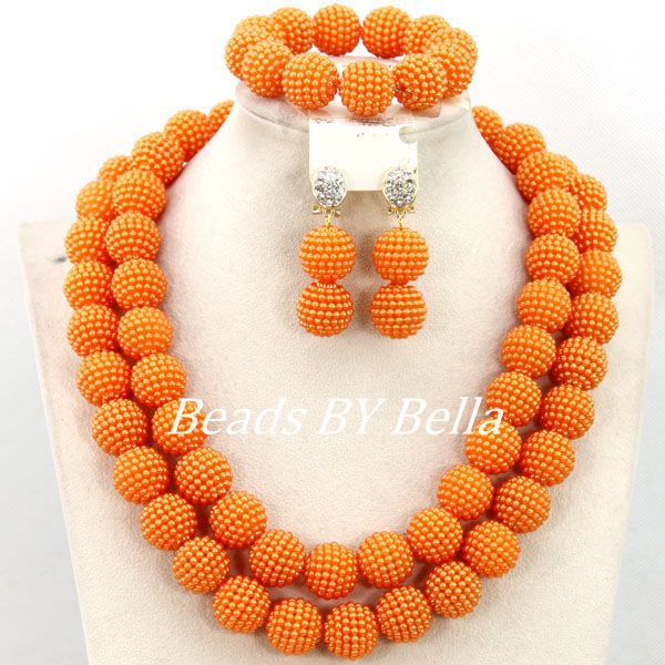 Popular Big Balls Indian Bridal Jewelry Set African Nigerian Wedding Beads Bridal Necklace Jewelry Set Free Shipping ABY376