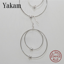 Summer 925 sterling silver double ring two stars female earrings temperament fashionable gorgeous for women earring jewelry gift
