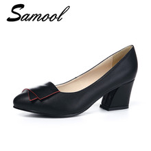 Womens Boat Shoes Pointed Toe High Hees Pumps Square Heel Dress Bow Shoes  Office Ladies Pump 203c1f7eddea