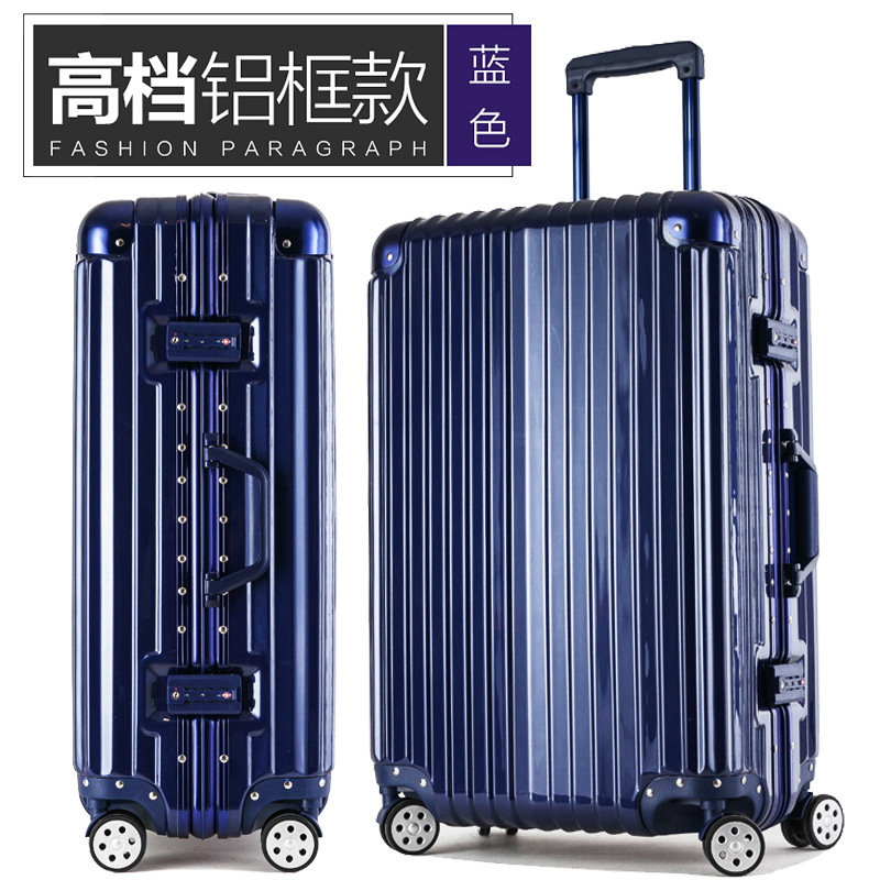 2022242629 new fashion of high-grade aluminum frame blue box Universal wheel rolling suitcase luggage