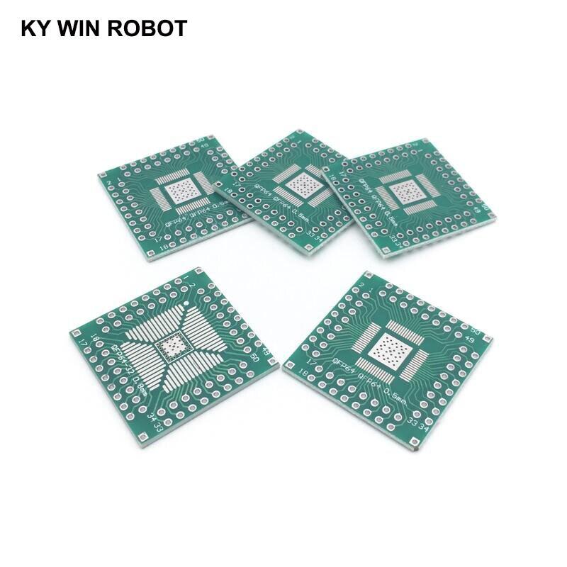 5 шт., адаптер QFP 32 40 48 56 64 SMT в DIP64, плата преобразователя 0,5/0,8 мм