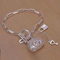 Christmas gift 2016 New 925 jewelry silver plated Fashion Jewelry Checkered bags bracelets&bangle,Wholesale jewelry SMTH206