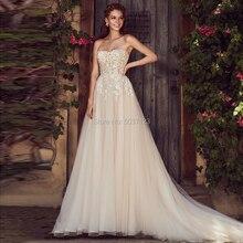Vestido De Noiva A Line Tulle Wedding Dresses Lace Appliques Strapless Sleeveless Zipper Robe De Mariee Bridal Gowns Court Train