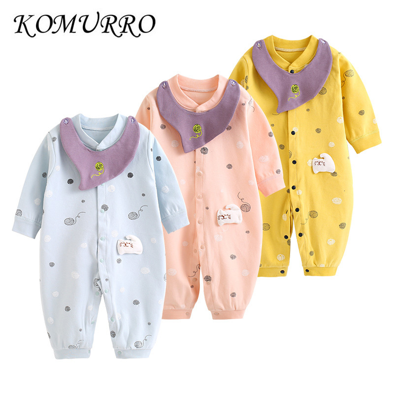 Newborn Infant Romper Baby Boys New Fashion Spring Long Sleeve Jumpsuit + Bibs Toddler Girl Playsuit Baby Girl Clothes Outfits